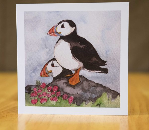 Puffins on the Lookout - Card