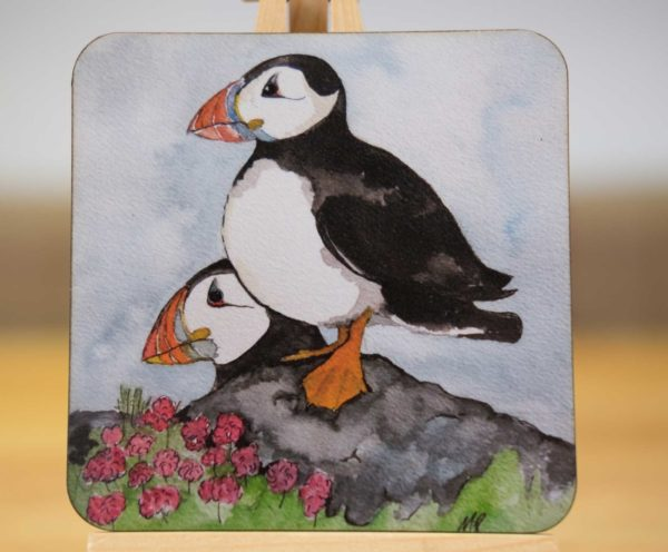 Puffins on the Lookout - Coaster