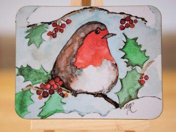 Robin in Holly - Coaster