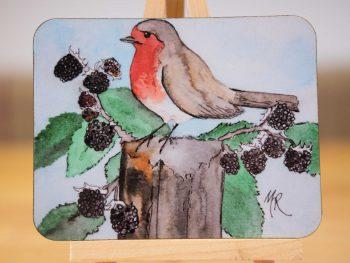 Robin in the Brambles Coaster