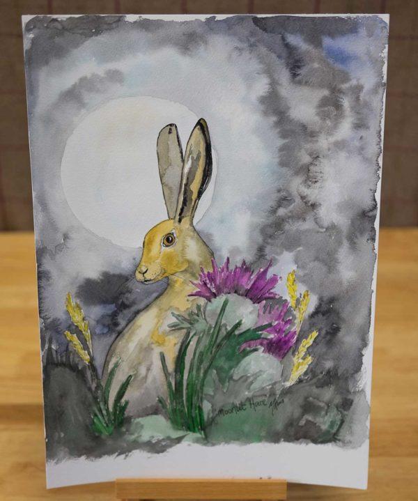Moonlit Hare Original Watercolour