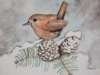 Winter Wren Original Watercolour