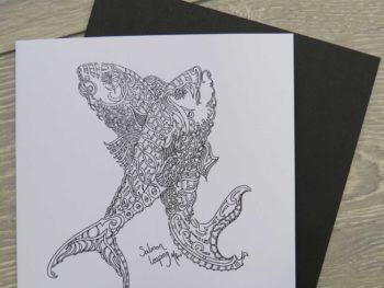 Salmon Leaping - Card