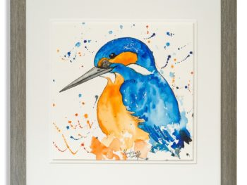 Watercolour of Kingfisher by Scottish Artist Mike Ross
